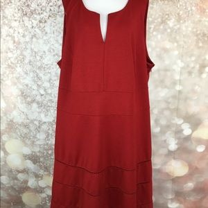 Sharagano Woman Red Sleeveless V Neck Dress Sz 24